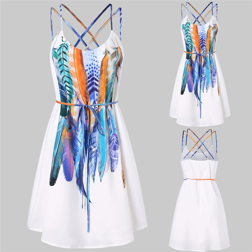 2018 Summer Dress Women Sexy Beach Bandage Printed Feathers Dress Backless Party Dress Sleeveless Vestidos Wholesale #FJ11 (1)