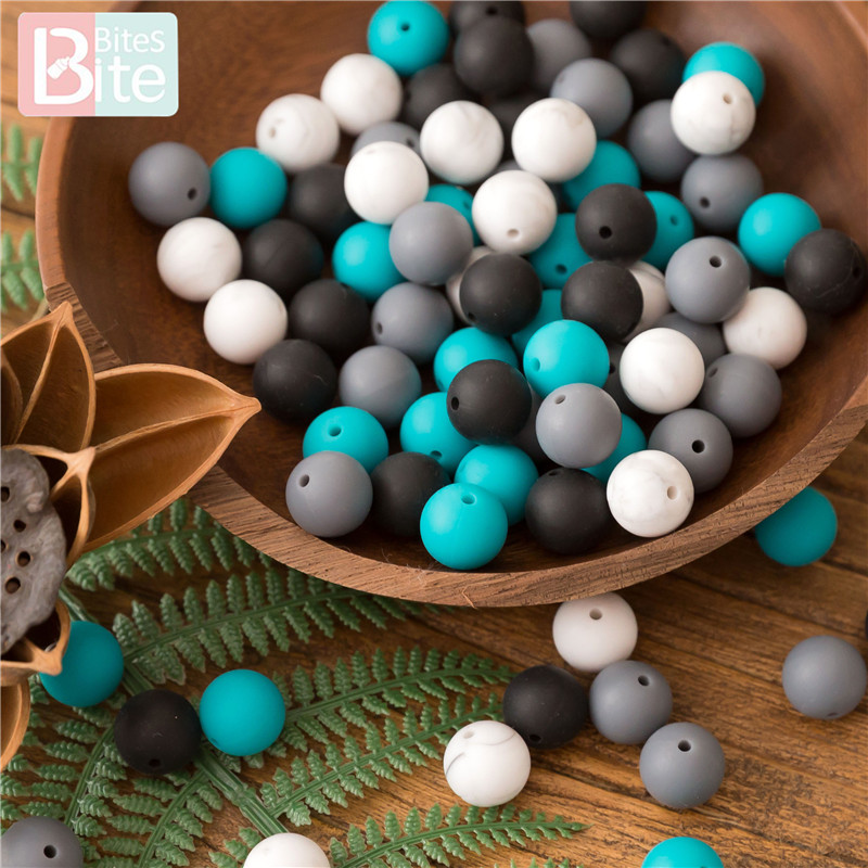 Bite Bites 100pc 12mm/15mm Silicone Round Beads Baby Teether Sesame Beads DIY Pacifier Chain Toys Making Food Grade Baby Teether