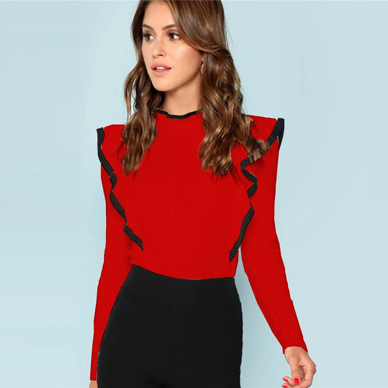 SHEIN volantes de Keyhole volver Tee Casual elegante Collar Botón de manga larga ropa de mujer otoño simple minimalista camiseta
