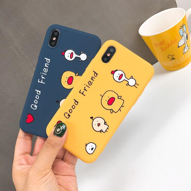 Cute Couple Cartoon Soft Silicone Phone Case For Apple