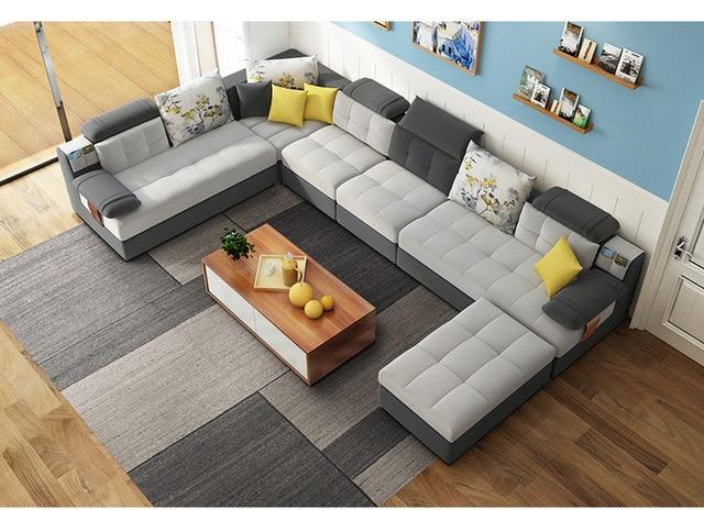 Living Room Sofa Set U Home Furniture Modern Linen Hemp Fabric Sectional Sofas American Country Muebles