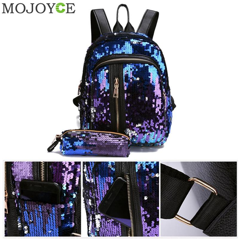 2pcs/set Glitter Sequins Backpack New Teenage Girls Fashion Bling Rucksack Students School Bag With Pencil Case Clutch Mochilas #4