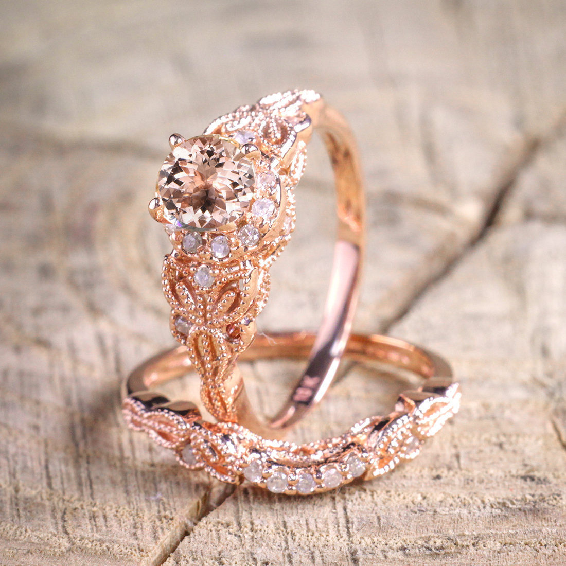 Rose Gold Big CZ Stone Rings for Women Wedding Engagement Ring Set Fashion Jewelry 2018