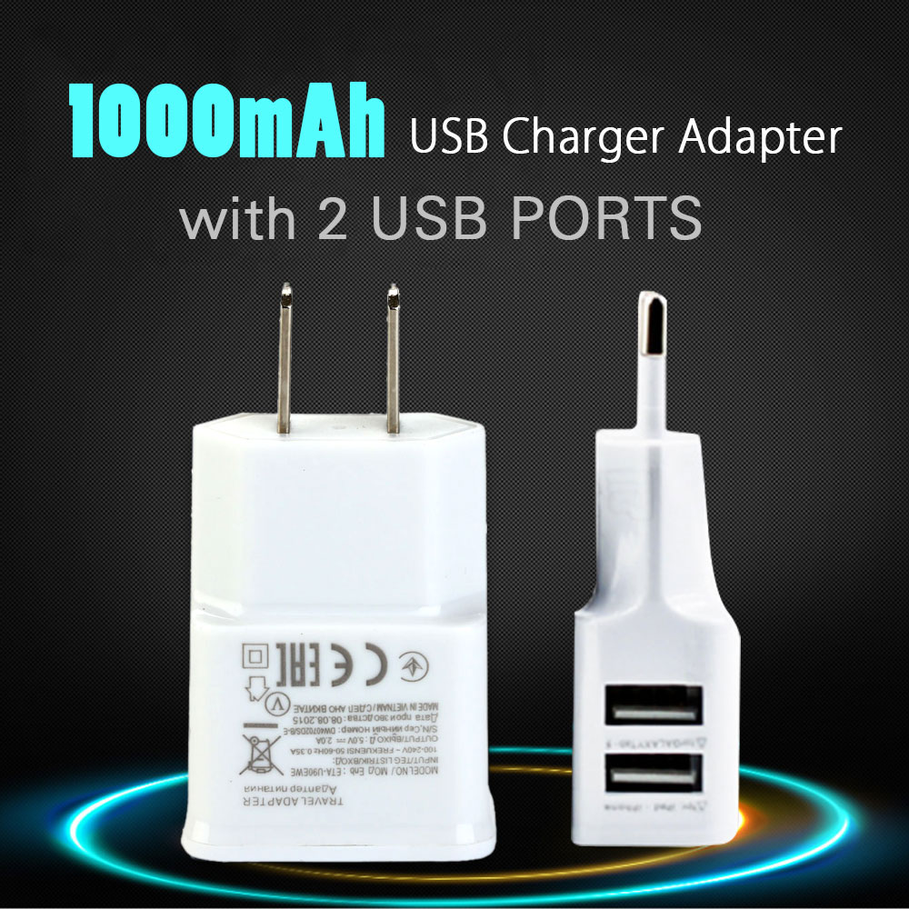 Phone Charger W/ Dual USB 2 Ports Adapter Wall Charging For Smartphone Charger For iPhone 6 6s 7 plus Samsung Xiaomi EU/US Plus
