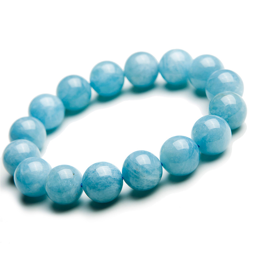 13mm 100% Genuine Natural Blue Aquamarine Bracelet Women Female Stretch Fashion Healing Round Bead Crystal Bracelet Stone AAAAA