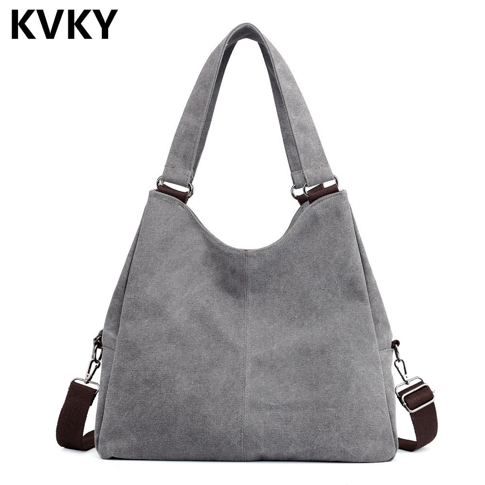 Canvas Women Handbags Hobos Female Single Shoulder Bag Vintage Solid Multi-pocket Crossbody Casual Big Tote Bolsa Feminina Sac Canvas Women Handbags Hobos Female Single Shoulder Bag Vintage Solid Multi-pocket Crossbody Casual Big Tote Bolsa Feminina Sac