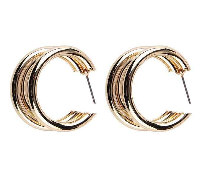 2019 Nuovo Caldo Temperamento Selvaggio Irregolare Semi-circolare Tre-anello di Metallo Orecchini Da Sposa Femminile di Tendenza del Regalo Degli Accessori Del Pendente