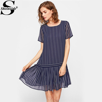Sheinside Navy Pleated Hem Mixed Stripe Drop Waist Dress Round Neck Short Sleeve Elegant Dress 2017