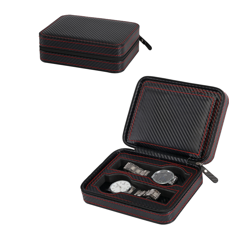 Carbon Fiber Leather Red Sew Zipper Pocket Portable for Brand Watch Box&Bag Watch Zippered Sport Watches Storage Case Organizer portable pp1440 cd zippered bag black page 6