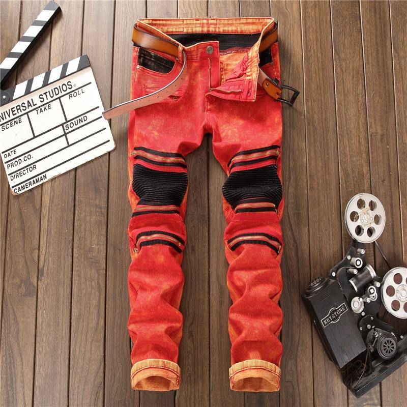 New Brand Men Jeans European American Style Mens Jeans Trousers Stripes Slim Straight Zipper Black Red Stripe Jeans Pants