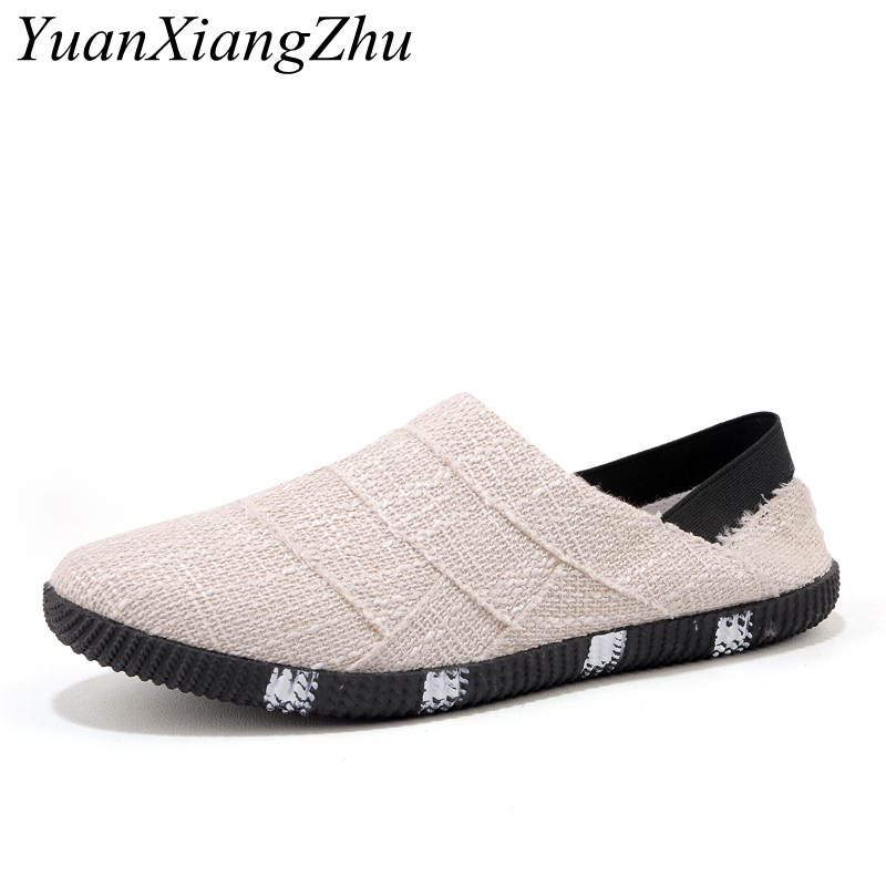 Summer Canvas Shoes Mens Loafers 2018 High Quality Casual Footwear Fashion Breathable Light Male Walking Shoes For Men Sneakers недорого