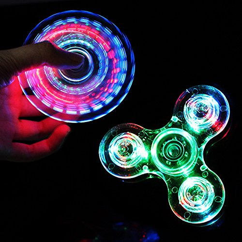 100pcs Lots Of Transparent Crystal Plastic LED Light Hand Spinner Crystal Luminous Fidget Spinner New EDC