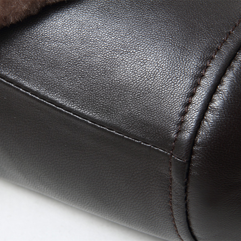 Kleidung Black Echte Kragen Mäntel Marke 4xl Neue Und Mit Wolle Jacken 2018 Männer Schwarz Mode Gours Jacke Schaffell Winter Leder HYEqA