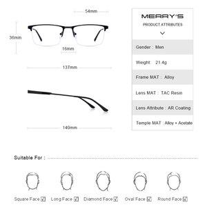 Image 4 - Merrys Ontwerp Mannen Titanium Legering Glazen Frame Mannelijke Vierkante Eye Bijziendheid Recept Brillen Mannelijke Helft Optische S2064