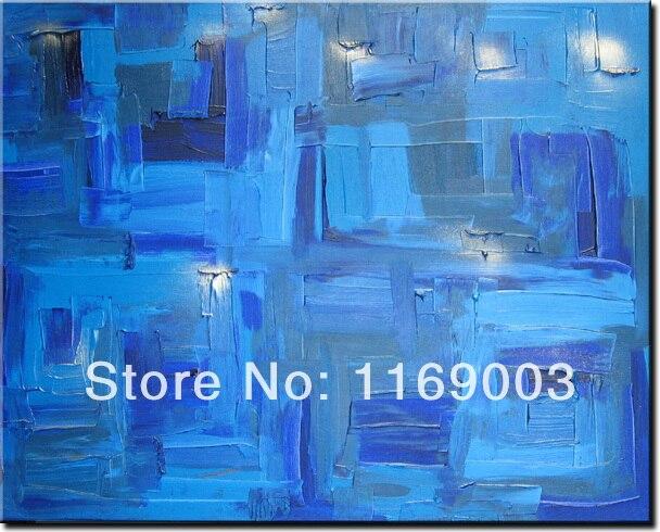 large Abstract modern wall art cheap font b knife b font paint blue art handmade oil