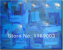 large Abstract modern wall art cheap knife paint blue art handmade oil painting only on canvas for bedroom living room home deco