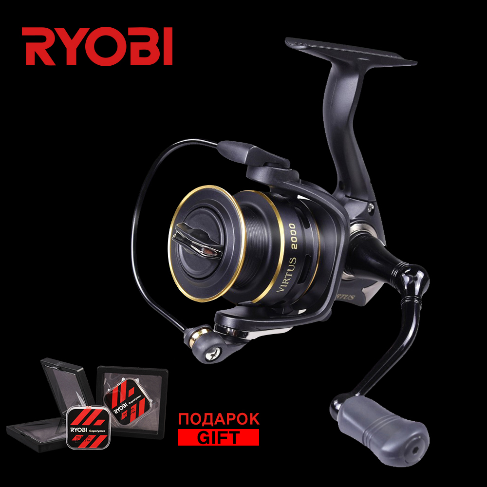RYOBI Virtus 1000 2000 3000 4000 5000 6000 100% Original Wheel Ultralight Aluminum Spool 7.5KG Saltwater Fishing Spinning Reel seashark salt water spinning fishing reel 1000 2000 3000 4000 5000 6000 7000 spinning wheel max drag force 12 5kg copper gear
