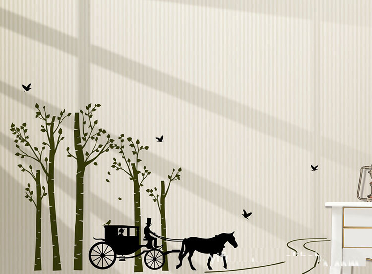 European Style Carriage Stickers Stylish Home Decor Pvc Sticker Wall Decal Wallpaper