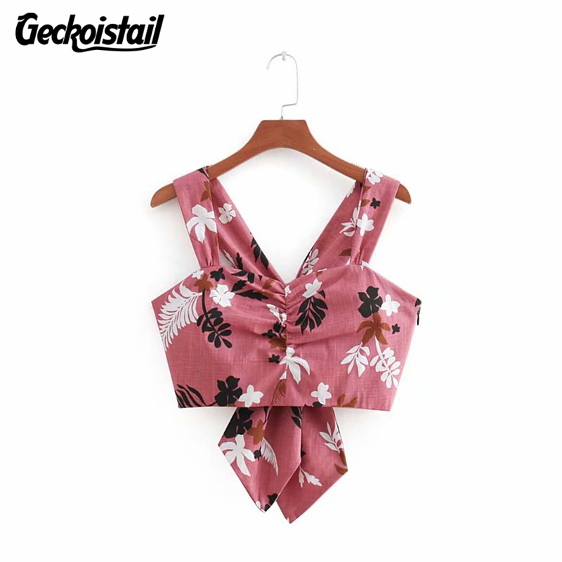 Geckoistail Summer Sexy Off Shoulder Camisole Tank Tops T Shirt Crop top flowered Print Bow Tie Female Short Cropped Camis Tees