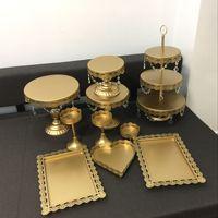 new set Gold Wedding Dessert Tray Cake Stand Cupcake Pan cake display table decoration Party Supply 10PCS / Set ,free shipping