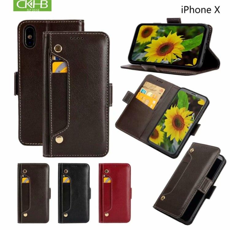 CKHB dernière cas de téléphone en cuir pour iPhone6 6 s Plus téléphone carte cas flip couverture pour iPhone X/XS /XR/XS MAX/8 7 Plus cas