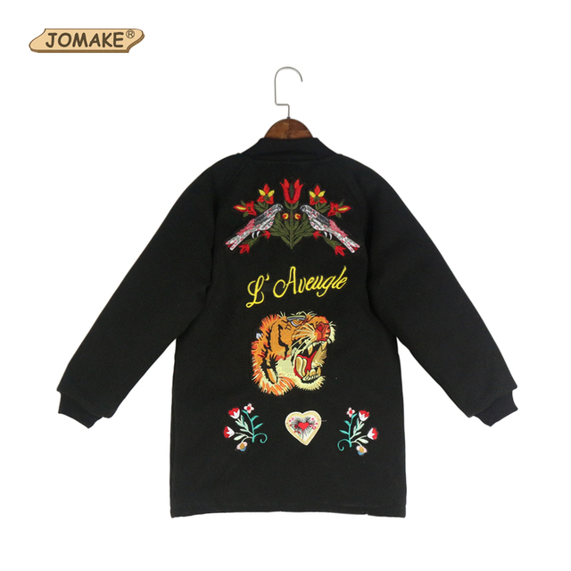 Heavyweight Winter Coats !Beautiful Floral And Tiger Embroidery Long Oversize Woolen Outwear For Baby Girls And Boys