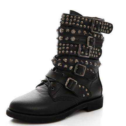 Personality Martin boots new rivet round head flat with belt buckle scooter with big yards short boots for women's shoes