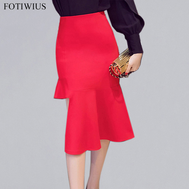 5XL Plus Size Skirt Pencil High Waist Skirts Womens Bodycon Jupe Femme  Spring 2018 Red Black Office Skirts For Ladies Jupe Femme 9b585bc53bbc