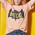 OtherLinks Bat Girl Imprimir Gráfico Camiseta Mujeres Contraste de Color de Manga Corta Cuello Redondo de Moda Casual 2017 Nuevo Algodón Superior Tee