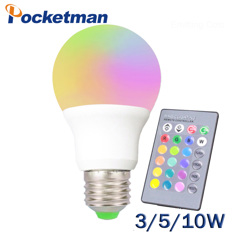 3W 5W 10W RGB E27 LED Bulb Light Stage Lamp 1 Colors with Remote Control Led Lights for Home AC 220V RGB +IR Remote Controller