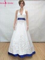 Beauty Emily Blue Stain Beads Wedding Dresses 2017 Plus Size A Line Halter Lace Up Vintage