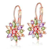 цены Boutique earrings AAA colorful flowers zircon earrings Fashion personality jewelry 3 colors  For Women Jewelry Dropshipping