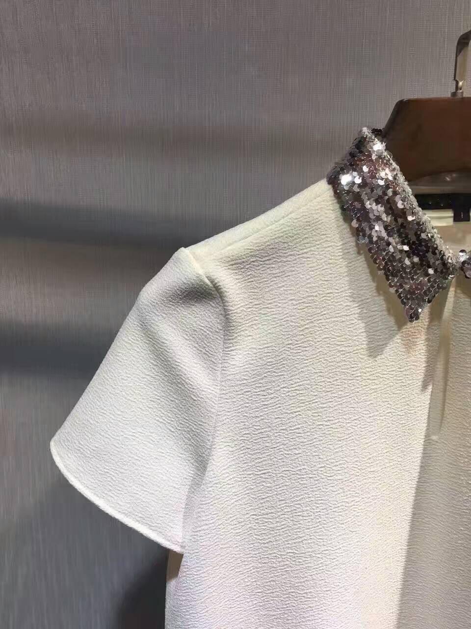 Paillettes shirts Élégant Blanc Pour Mode Top Femmes Crop Courtes Blouse Femmes Blusas Col Incroyable Manches Femme T Bling À BFptWq