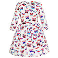 Sunny Fashion Girls Dress Butterfly Long Sleeve Winter Dress 2017 Summer Princess Wedding Party Dresses Kids Clothes Size 4-14