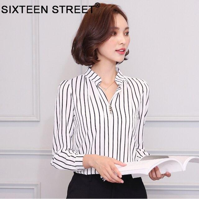 dabc76aed773e8 2018 New Korean Fashion Woman Blouses V Neck Chiffon Shirt Long Sleeve  Spring Autumn Elegant Office Basic Tops Blusas Femininas