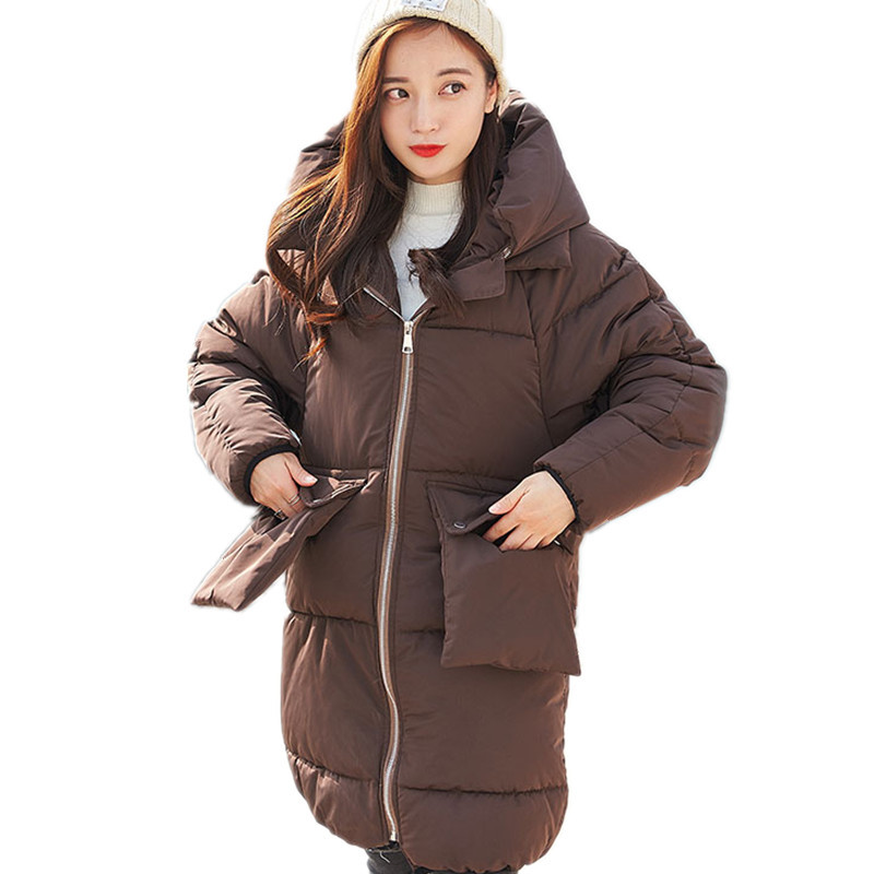 Winter Hooded Cotton Padded Women Jacket Loose Fashion Wadded Winter Coat Solid Color Thick High Quality Manteau Femme TT3263 lstu winter jacket women 2017 fashion cotton padded hooded jacket female wadded jacket outerwear winter coat women