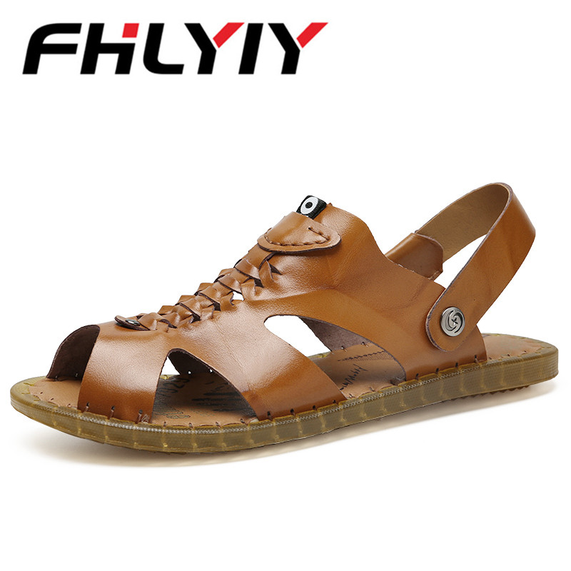 New MenS Beach Sandals Shoes Men Genuine Leather Footwear Summer Sandals Solid Casual Fashion Platform Shoes Sapatos Masculinos