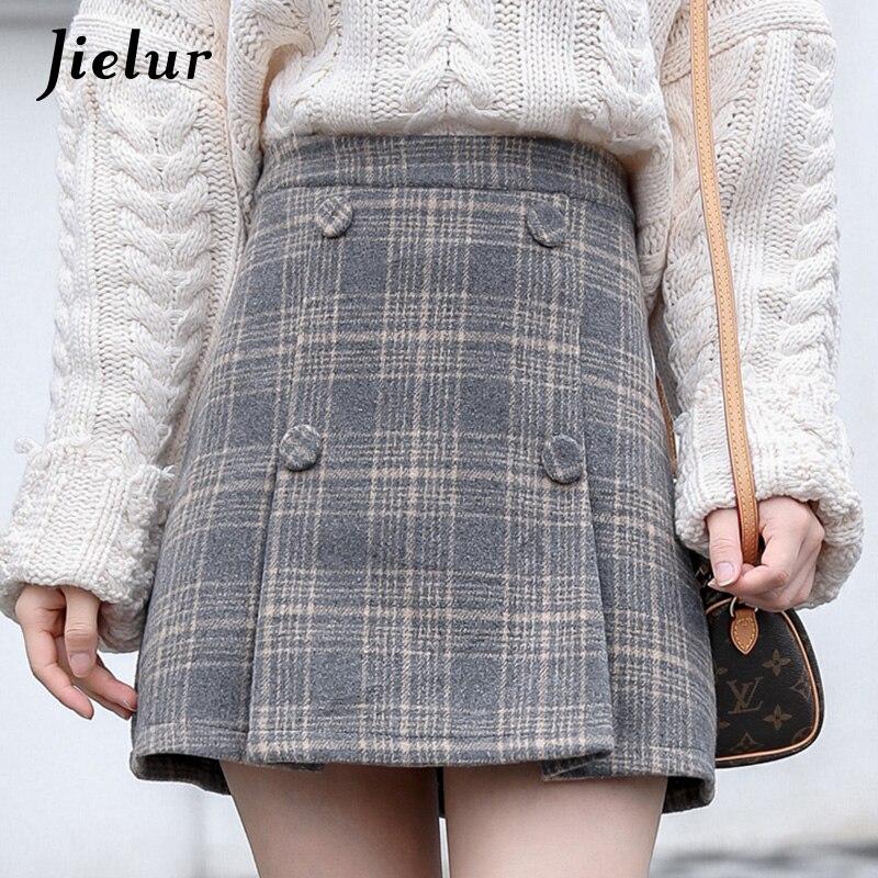 Jielur Winter Chic Sexy Womens Skirt Korean Vintage High Waist Plaid Skirts A-line Elegant Lady Faldas Girls Woolen Short