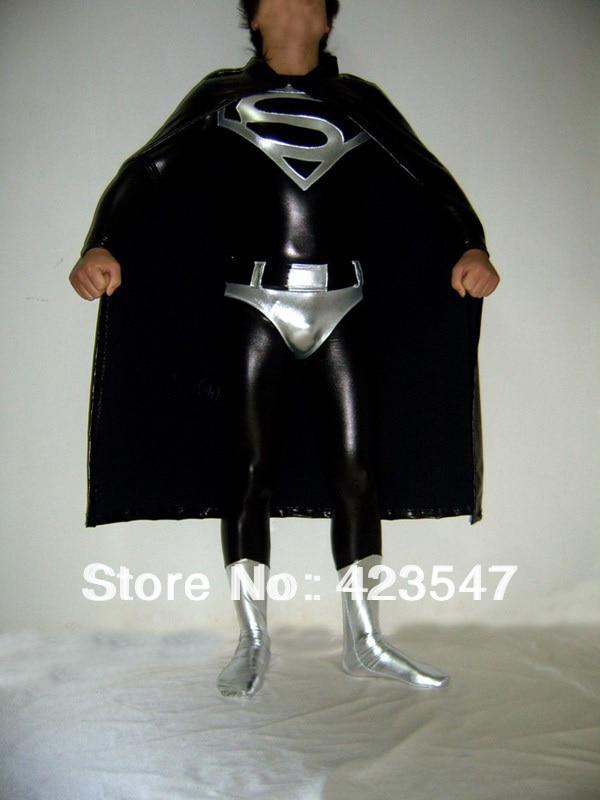Cosplay Superman clothes black glue super man cloak Halloween Party Cosplay tights halloween