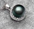 Huij 004906 9 - 10 mm preto pérola do taiti colar de pingente s925