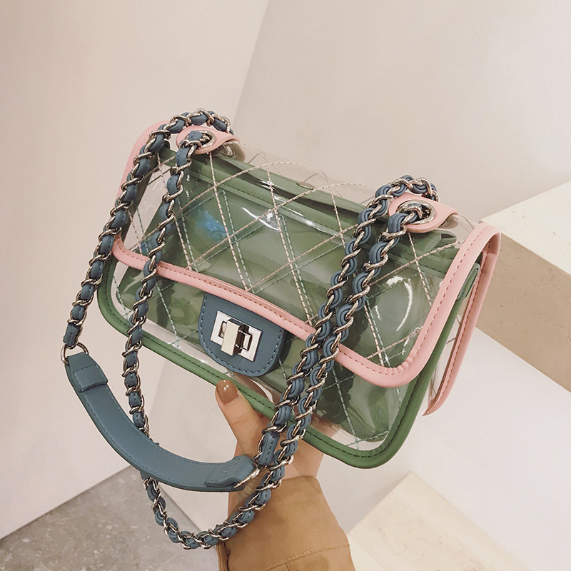 Hit color jelly bag PVC bag female New casual wild shoulder bag Buckle diagonal chain small square package 2018 new female korean version of the bag with a small square package side buckle shoulder messenger bag packet tide