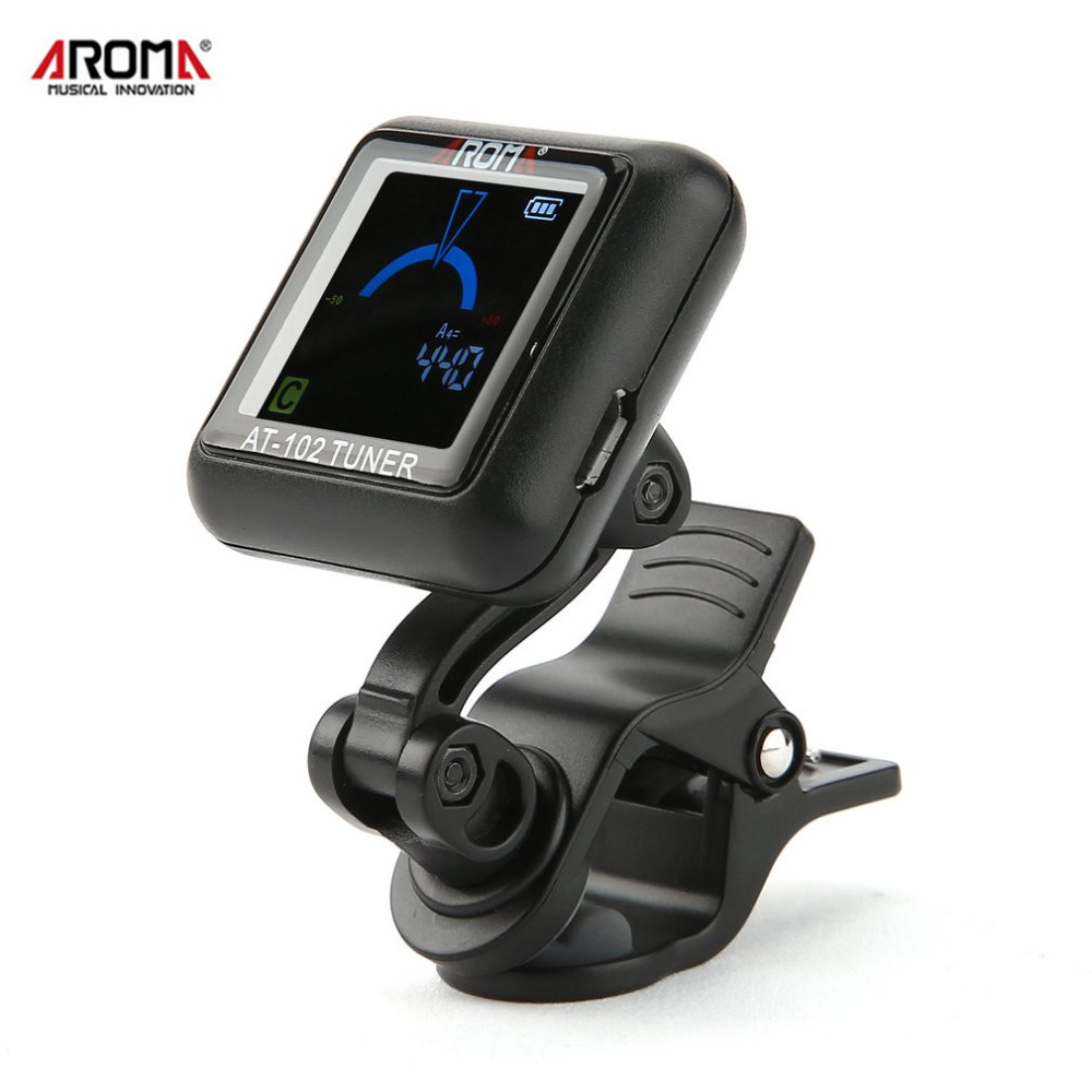 AROMA Clip-on Guitar Tuner Color Screen with Built-in Battery USB Cable for Electric Guitar Bass Ukulele Violin