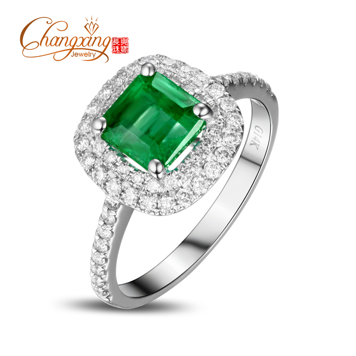 14k Gold 103ct Colombian Emerald Diamond Engagement Ring Fine