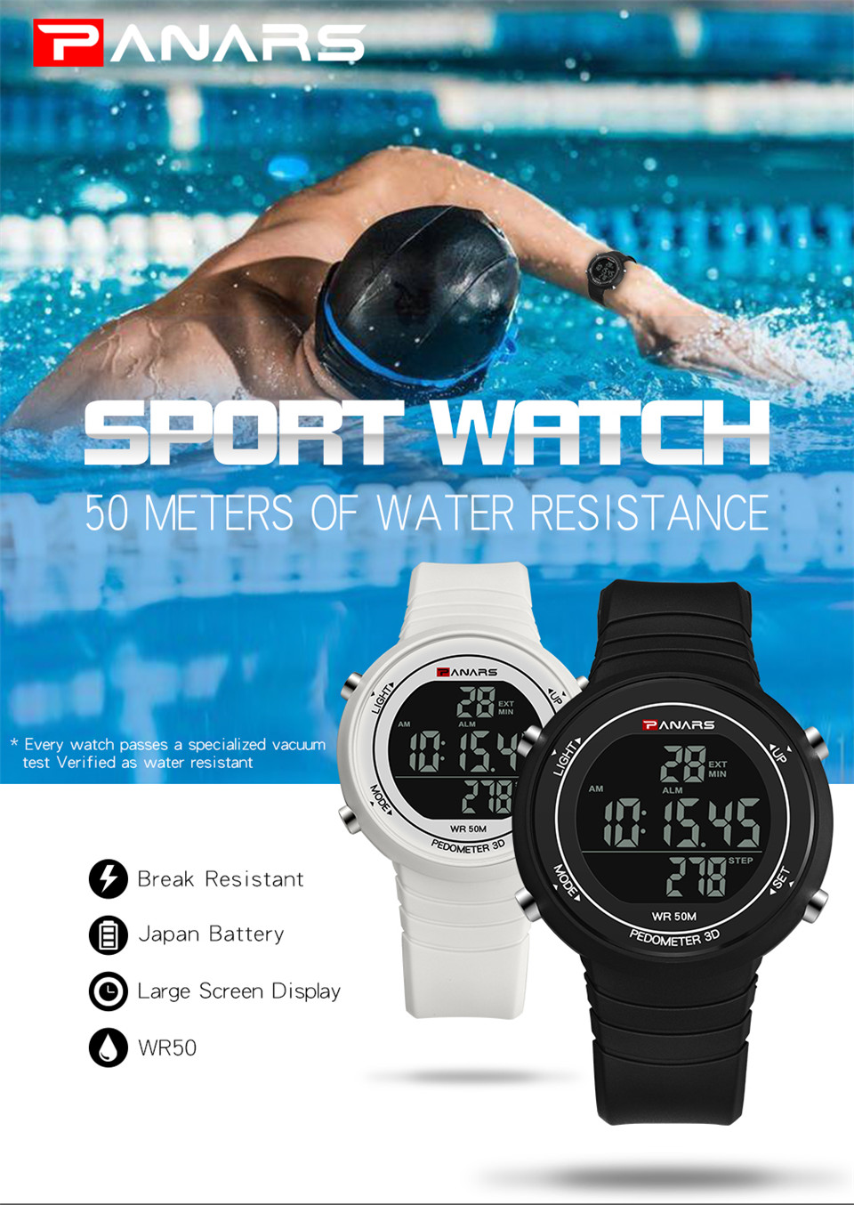 Pedometer Watch Clock Woman Waterproof 50M Outdoor Digital Sports Watch Women Simple Small Bracelet Hand Wrist Watches Hour gift (2)