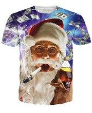 Hot!New Fashion Women/Men T Shirt Print Christmas Santa Claus T-Shirt 3D Print Funny Smoking Short Sleeve Summer Tops Tees
