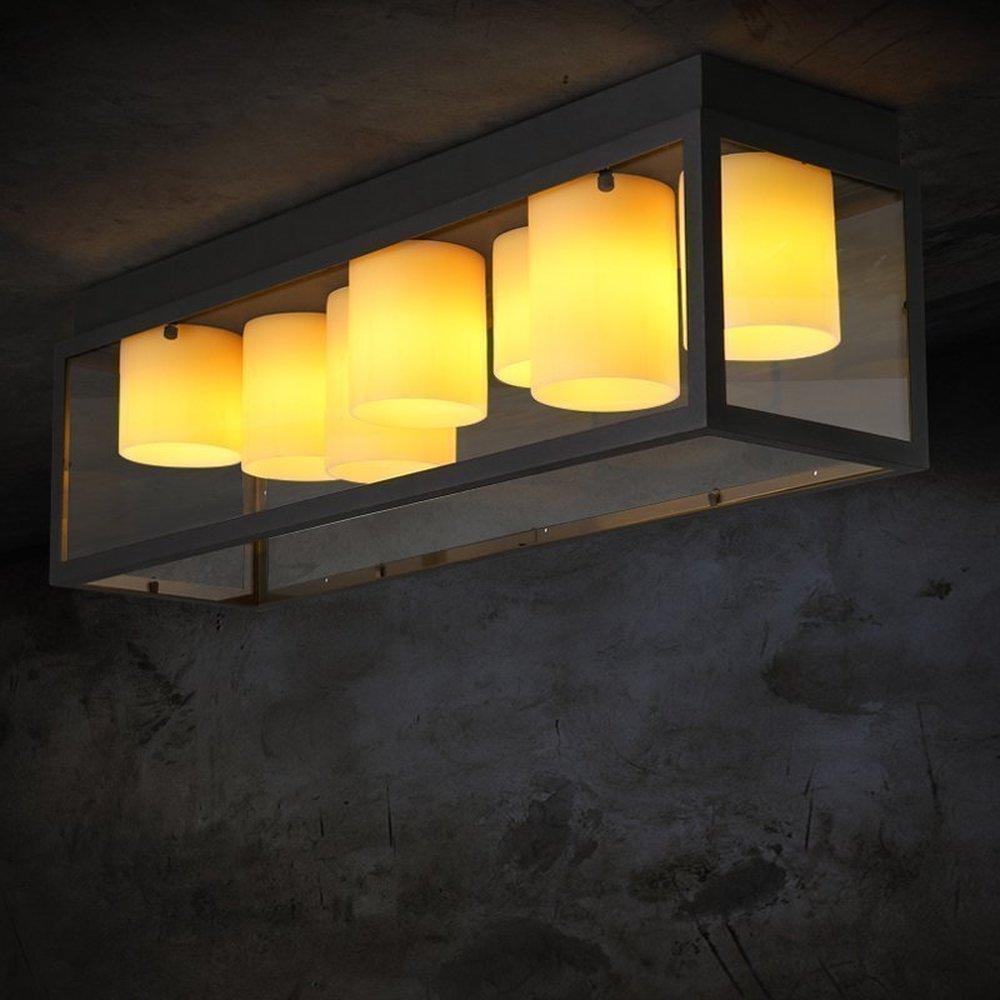 Американский кантри квадратный столовая спальня имитация мрамора потолочный светильник подсвечник стеклянный личности потолочный светил