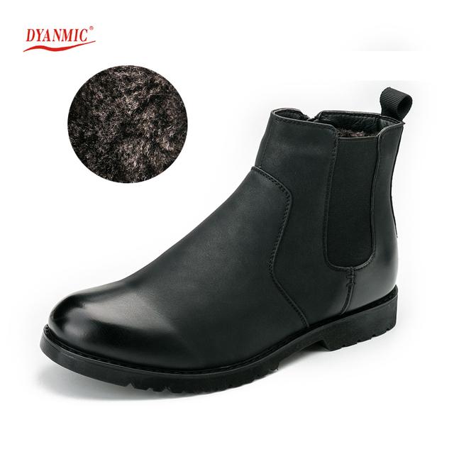DYANMIC Nueva Británico Con Piel Gruesa de Invierno Muy Cálido Zapatos Con Fondo De Goma forrado Para Hombres Negro Tamaño Eur 40-45