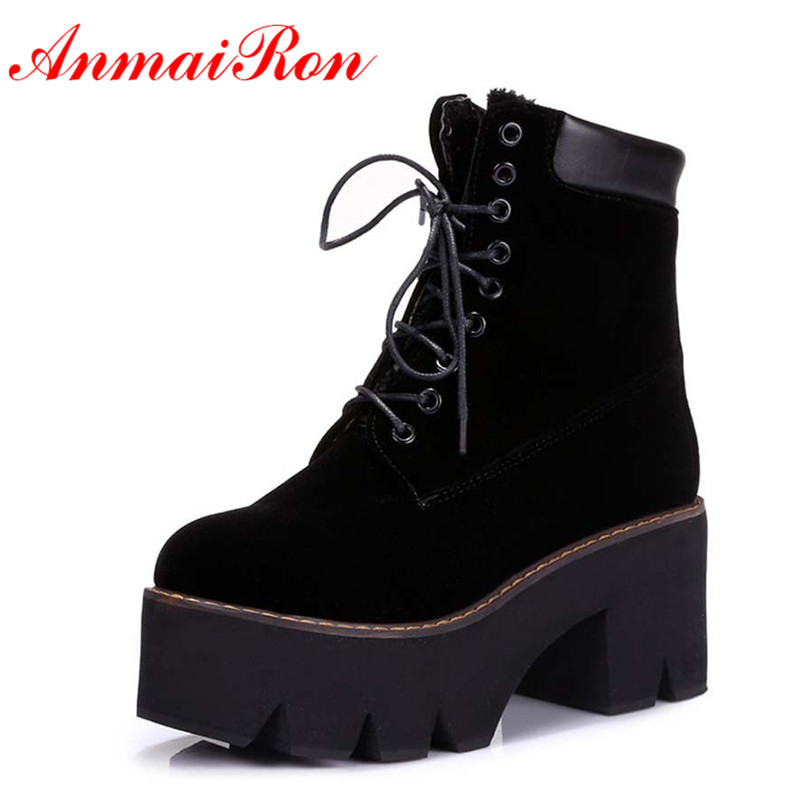 ANMAIRON Autumn Boots Winter Ladies Ankle Boots Women Fashion Boots Lace up warm Fur Hot Sale Round Toe Platform Girls Boots
