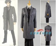 Fate Zero Saber Suit Uniform Long Grey Coat Pant Shirt For Men Cosplay Costume Male