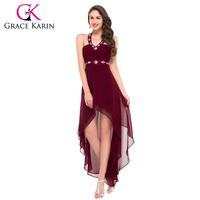 Free Shipping Sexy Halter Black Powder Blue Wine Red Burgundy Prom Dresses Front Short Back Long
